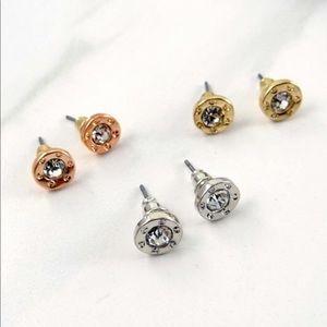 Jewelry - Rose Gold Compass Rhinestone Earrings